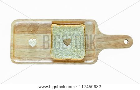 Isolated On White Background With Clipping Path Of Bread And Shape Of Heart