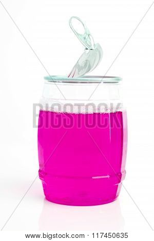 Opened Transparent Can Isolated On White Background
