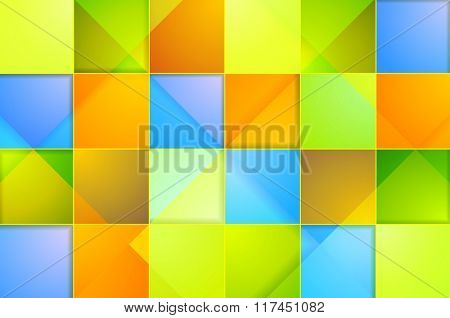 Colorful abstract tech squares background. Vector geometric graphic template design