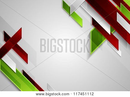 Bright tech geometric shapes on grey background. Vector template brochure design