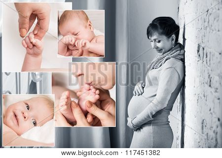 Baby collage and happy pregnant woman