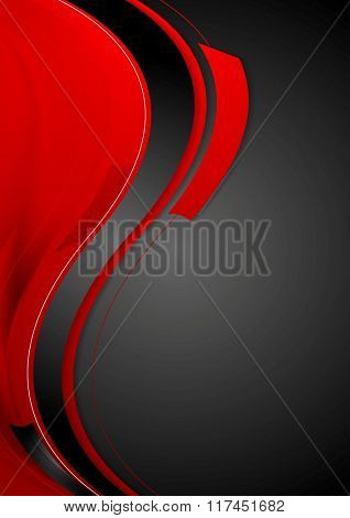 Bright contrast red black wavy background. Vector graphic design