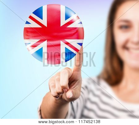 Woman point on the bubble with english flag