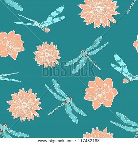 Seamless pattern with dragonflies and water flowers