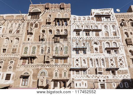 Traditional Yemeni Buildings In Sanaa Old Town Yemen