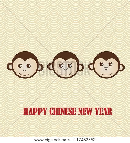 Chinese New Year design with Cute monkeys background.