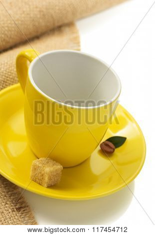 empty cup of coffee isolated on white background