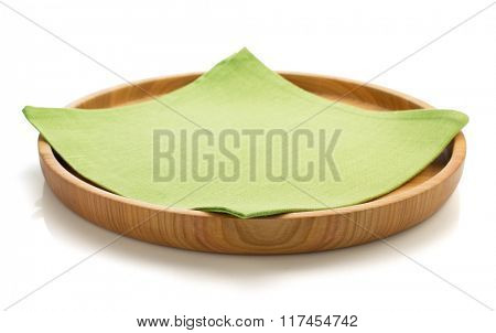 wooden tray and napkin isolated on white background