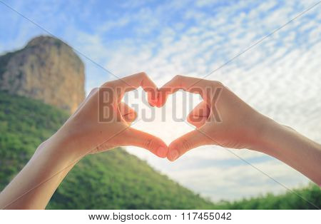 Female Hands In The Form Of Heart. Love Concept.