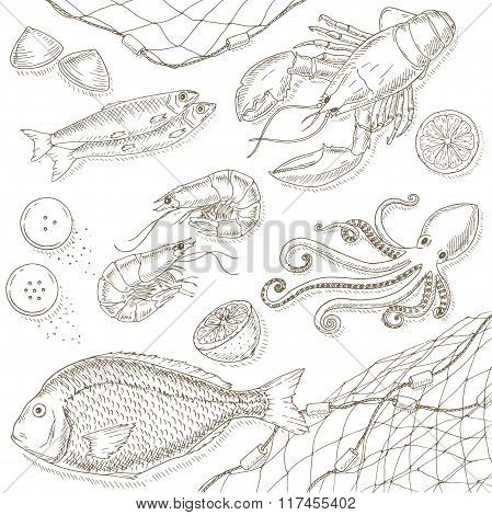 Seafood and fish set