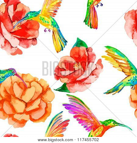 Tropical birds and flowers. Seamless pattern watercolor. Vector. Camellia, hummingbirds. Rosa.