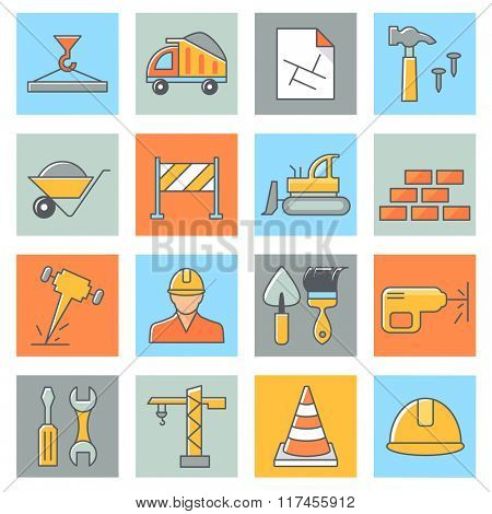 Building icons, thin line style, flat design