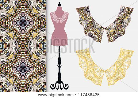 Vintage lace collars, tailor's dummy, seamless fabric pattern.