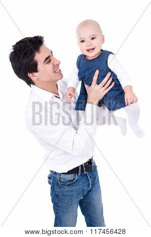 Happy Young Father Playing With Baby Girl Isolated On White