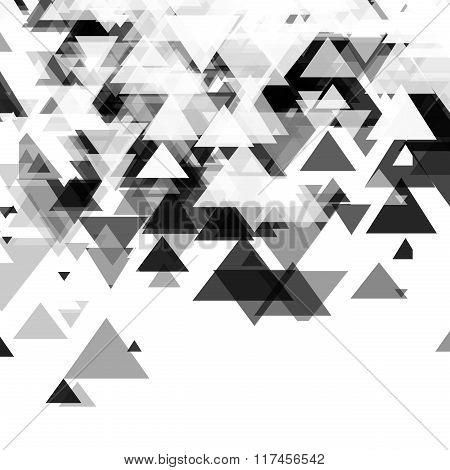 Abstract, technology, futuristic monochrome background with a pattern of triangles. Template design