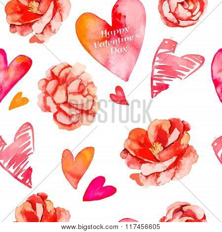 Valentines day background.Seamless pattern of hearts and roses. Camellia. Vector.