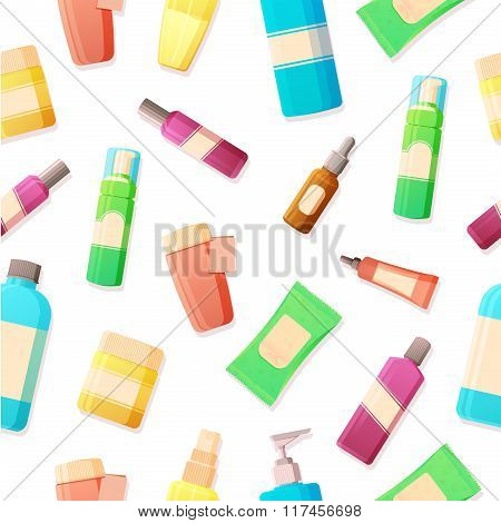 Seamless background with a pattern of bottles with cosmetics. Tonic, cream, serum, gel, skin care on