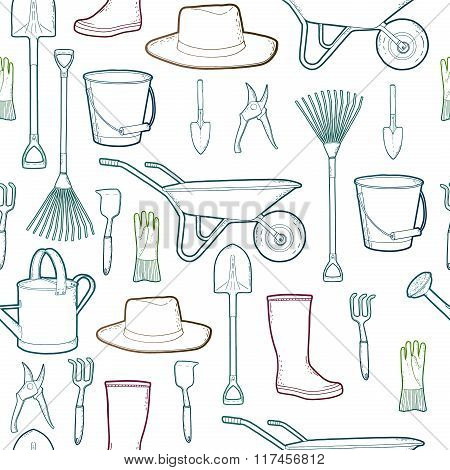 Outline pattern  with garden and farmer tools. Instruments and hat and wheelbarrow, gloves.