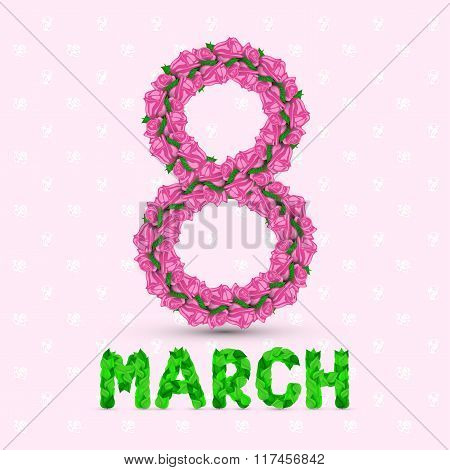 Greeting Card With Rose March 8