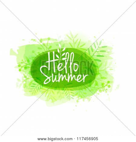 Template design of logo, stamp silhouette Hello, Summer. Watercolor green texture with floral, plant