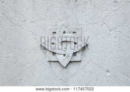 Decorative marble rosette. Background texture.