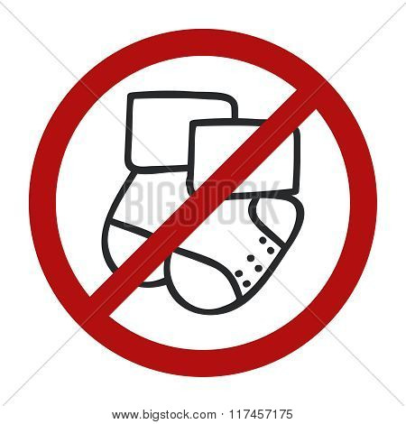 Stop sign. Doodle socks icon for web design. Handdrawn symbol of footwear. Vector llustration No bab