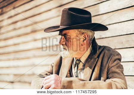 Bearded Senior Western Man Looking Afar