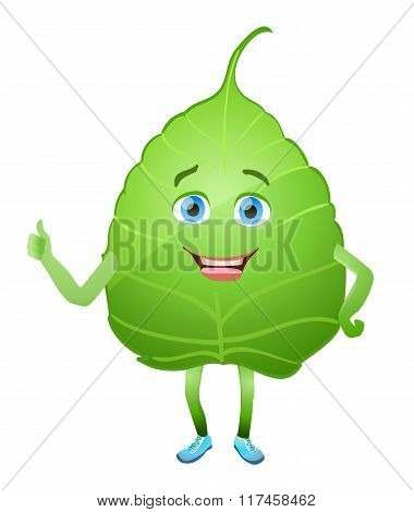 Green Leaf Cartoon Character