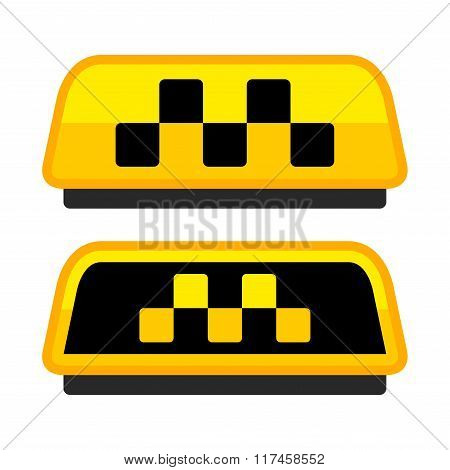 Yellow Taxi Logo Set with Boxes. Vector