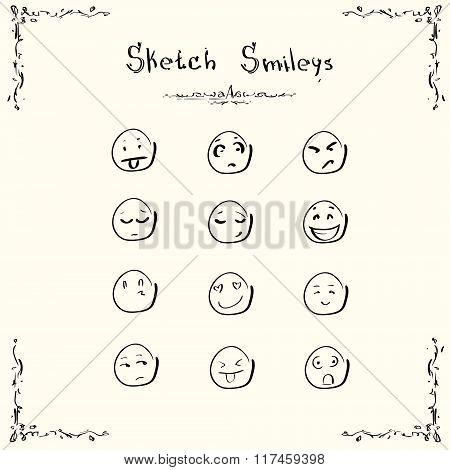 Sketch Smileys Faces Emotion Concept Set Collection