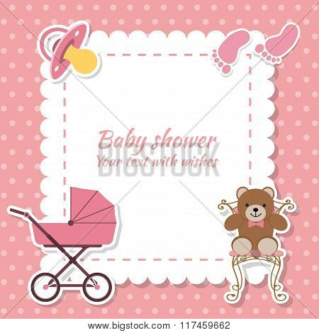 Baby Shower Girl, Invitation Card. Place For Text.  Greeting Cards. Vector Illustration
