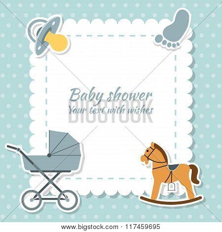 Baby Boy Greeting Card. Baby Shower