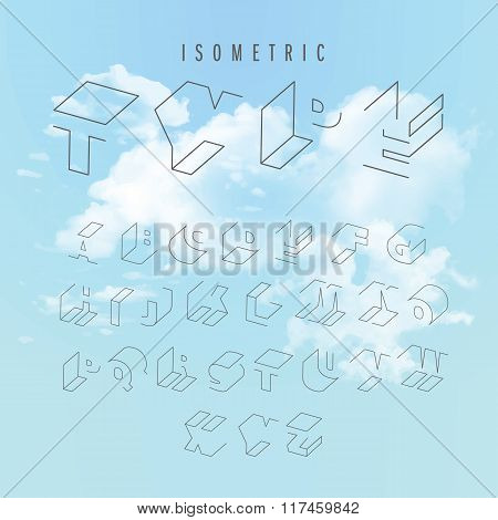 Isometric outline alphabet