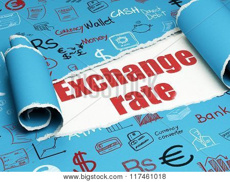 Currency concept: red text Exchange Rate under the piece of  torn paper