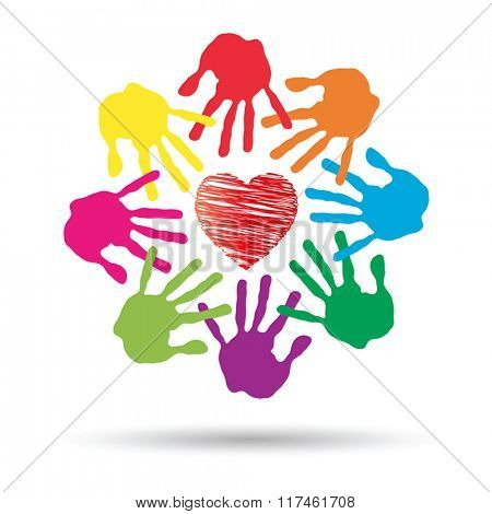 Vector concept or conceptual red heart symbol with child human hand prints spiral or circle isolated on white background