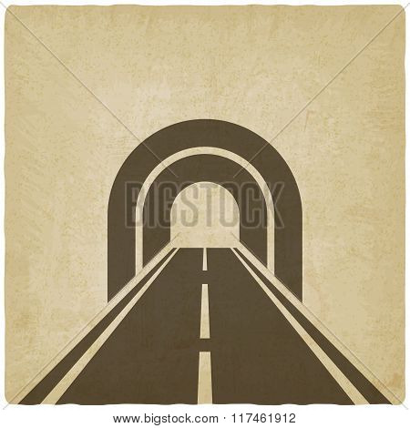 road through tunnel old background
