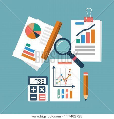 Financial Accounting Concept. Organization Process, Analytics