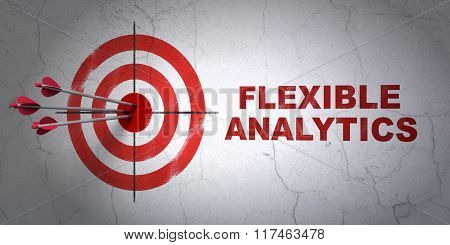 Finance concept: target and Flexible Analytics on wall background