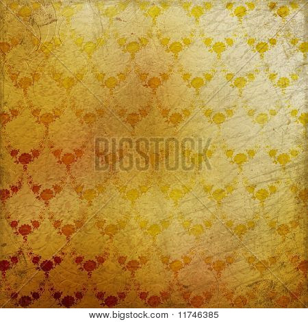 Grunge Brown Background With Ancient Floral Ornament.