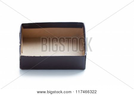 Aged paper box without cover. opened, brown color empty container. soft focus. copy space, macro vie