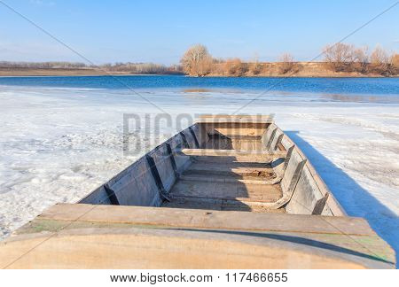 boat on the frozen river