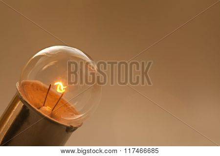 Glowing light bulb on gold brown background. Retro style lamp with ideal spherical surface and filam