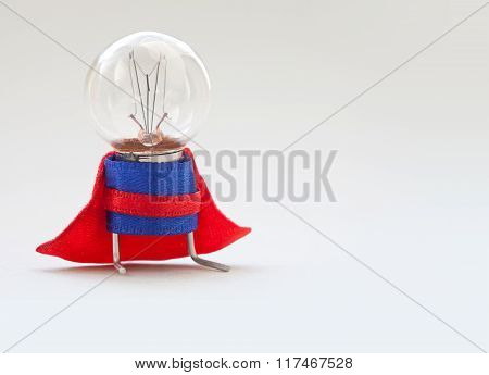 Light bulb lamp man in superhero costume. Vintage style lamp, stylized super hero character. Leaders
