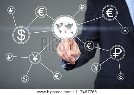 Businessman pushing button with dollar map currency web icon. technology, internet and networking co