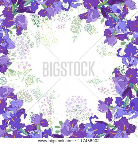 Square frame with contour  violet irises and herbs on white. Floral pattern for your wedding design, floral greeting cards, posters.