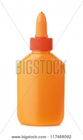 Orange plastic glue bottle isolated on white