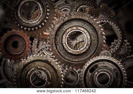 Grunge gear, cog wheels mechanism background. Industry, science concepts. Authentic motor parts.