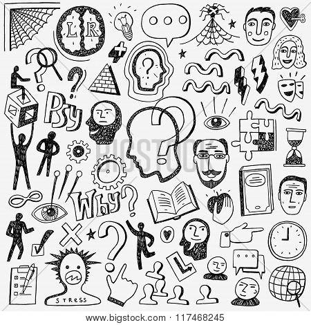 Thinking , psychology - doodles set
