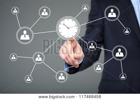 Businessman hand press clock time button icon. business, technology and internet concept