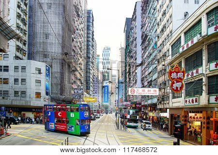 Double-decker Tram In Hong Kong.